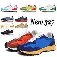 New 327 أعلى جودة 2021 وصول الاحذية للرجال النساء فخر الجير الأخضر لينة الأصفر الأسود قلعة روك نيون الرجال النساء أحذية رياضية المدربين الركض المشي في الهواء الطلق  أحذية