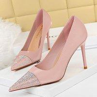 Dress Shoes 2021 Elegant Women Bling 9.5cm High Heels Crystal Wedding Bridal Pumps Stiletto Pink Female Scarpins Office Lady Plus Size