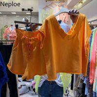 Two Piece Dress Neploe 2 Set Spring 2021 Loose V Neck Short Sleeve Ladies T Shirts +Stretch Waist Drawstring Shorts Fashion Suits 1A323