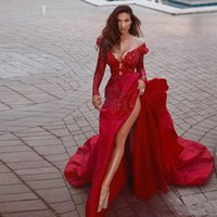 Red Mermaid Prom Evening Dresses High Side Split Formal Party Gowns Open Back Glitter Appliqued Lace Long Sleeved Elegant
