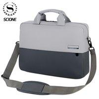 Scione 13 14 16 inç dizüstü erkek büyük kapasiteli evrak çantası iş ofis belgeleri çanta notebook çantaları uzun kayış çanta Q0112
