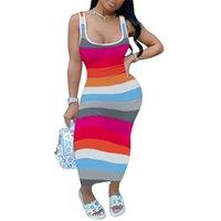 S-3XL Летнее Женское платье для моды полосатый Жилет без рукавов Бак Длинные Maxi Платья Tiktok Модная мода Контрастная полоса бедра сексуальная узкая юбка в целом G53YLXM