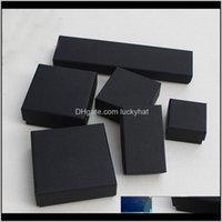 Jóias e caixas de varejo Black Kraft Embalagem Pulseira Colar Anel Ear Nail Box Ano de Natal Presente Personalizar 10 Tamanho PQSRW ERP6B