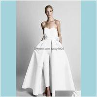 A-Line Wedding , & Events Krikor Jabotian Modest Red Jumpsuits Wdding Dresses With Detachable Skirt Strapless Bride Gown Bridal Party Pants