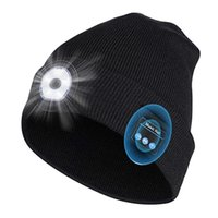 Winter Beanie Hat Unisex Beanie Soft Black Knitted Hat Wireless Bluetooth 5.0 Smart Cap Stereo Headphone Headset with LED Light