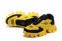Cloudbust Thunder 캐주얼 신발 남성 여성, 세련 된 노란색, 흰색, 검은 색 및 분홍색 위장, 크기 36-46 함께 높은 플랫폼 레이스