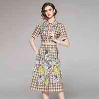 Quality Plaid Floral Runway Pleated Dress Women 2021 Designer Shirt Neck Office Ladies Slim A-Line Printed Dresses Summer Autumn Prom Street Style Short Sleeve Frock