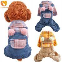 Собака одежда комбинезон домашних животных одежда милый клетчатый комбинезон щенок костюм для маленьких средних собак кошек все сезон наряды чихуахуа одежда