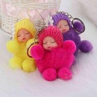 1 قطع لطيف النوم الطفل ربطة fluffy pompom الفراء أفخم دمية سلسلة المفاتيح كيرينغ مفتاح الدائري النساء الفتيات حقيبة قلادة مجوهرات Y0414