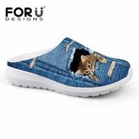 FUTESInsigns Mignon Pet Cat Denim imprimé Femmes Sandales Poids léger Slip sur Summer Beach Water Shoes Femelle Mocassins Respirant L59X #
