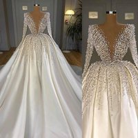 Major Beading Luxury Pearls Crystal Wedding Gowns Satin Elegant A Line Long Sleeve Bridal Dresses 2021 Saudi Arabic Dubai Chapel Train Formal Vestidos AL8952