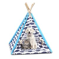 Indoor Outdoor Foldable Pet Tent Dog Bed Cat Shed House Kennel Washable Teepee With Mat Product Supplies Gifts N8 Kennels & Pens