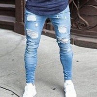 Monersfi Новые мужские брюки Урожай отверстие брюки для парней в Европе Стиль большой размер 2018 Летние разорвал хлопковые повседневные джинсы для мужчин K397 #