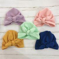 Winter Autumn New Thick Warm Cotton Knitted Baby Hat Big Bows Newborn Baby Bonnet 0-24 Months Knit Baby Girl Hat Beanie Cap 119 B3