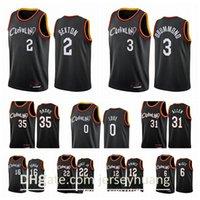 Clevelandcavaliersmen Collin Sexton Isaac Okoro Kevin Love Andre Drummond Larry Nance 2020-21 Negro Cidade Basketball Jersey New Uni