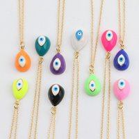 Pendant Necklaces Fashion Devil's Eye Enamel Copper Gold Plated Rainbow Necklace For Women Personalized Style Jewelry Chain