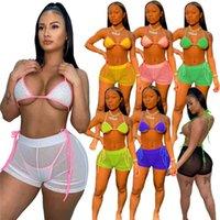 الجملة الصيف المرأة البيكينيات السيدات ملابس 3 قطعة مجموعة الأزياء نحيل مثير ملابس السباحة المايوه بحر مريح D454