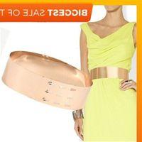 Women Punk Full Metal Mirror skinny Waist Belt 2021 Metallic Gold Plate 7cm Wide Chains Lady ceinture sashes for dresses J1209