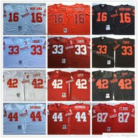 NCAA Erkekler Futbol 16 Joe Montana 33 Roger Craig 42 Ronnie Lott 44 Tom Rathman 87 Dwight Clark Formalar Vintage Nakış En Kaliteli