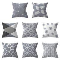 Pillow Case Gray Geometric Pillowcase Soft Solid Square Decorative Throw Cotton Blend Canvas Cushion Cover 45*45cm
