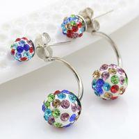 8 couleurs Classic Shambhala Perles Boucle Boucles d'oreilles Femmes filles Multicolore Disco Ballon double usage boucle d'oreille bijoux