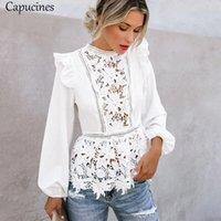 Capuz Lace Splicing Ruffled Cintura Alta Branca Camisas Blusa Mulheres Escavar Embroidery Keyhole Voltar Elegante Verão Chique Tops 00TJ #