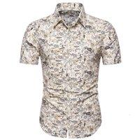 Camicia maschile di Fashsiuay Estate 2020 Uomini Slim Slim Slim Slip HAWAII Manica corta Stampata Camicia da colletto a turno Top Camisas Para Hombre