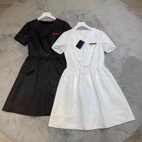Женщины платье рубашка для весенних летних писем повседневный стиль с биржевой буквой леди тонкие платья пояса плиссированные юбка на молнии