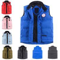 캐나다 USA 스타일 망 다운 재킷 진짜 깃털 조끼 겨울 검은 레이블 거위 패션 남자 Gilet Parka Bodywarmer 고급 방수 패브릭
