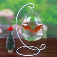 Vases Glass Transparent Creative Hanging Vase Fish Tank Hydroponic Plant Terrarium Bent Stand Mini Flower Bottle