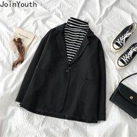 Jointyouth Black Tough Blazers Женщины 2021 Осень Одноместный Кнопка Старинные Элегантные Blazer Feminino Все Матч Mujer Chaquea J1040 Женские Костюмы