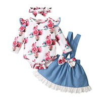 kids Clothing Sets Girls Flowers outfits infant Flying sleeve Floral Tops+lace strap dress+Headband 3pcs set Spring Autumn fashion Boutique baby clothes
