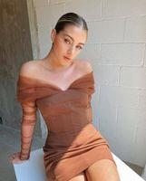 Casual Dresses Hohe Qualität Herbst Sexy Schulterfrei Spitze Full Sleeves Mini Verbandkleid Elegante Promi Designer Party dre pkj