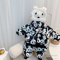 Baby kids cartoon clothing sets girls stereo panda brooch long sleeve outwear+pants+scarves 3pcs winter children thicken warm outfits Q2745