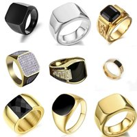 Biker Punk Style Collection! Gold Band Width Signet Square Finger Rings for Men Party Wedding Jewelry Whole Sale