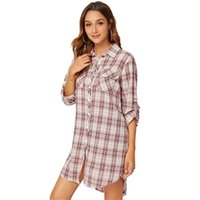 Casual Dresses Autumn Women Shirt Mini Dress Long Sleeve Pink Loose Plaid Button Up Elegant Turn-Down Collar Office Lady Clothes