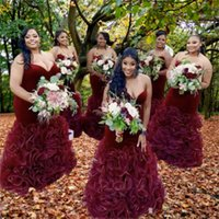 Burgundy Bridesmaid Dresses Sweetheart Ruched Ruffles Mermaid Plus Size Maid of Honor Dress Country Wedding Party Gowns