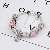 Magnolia Bracelet 925 Silver Charm Accessories Bracelets Peach Flower Pendant Bangle Charm Magnoliaeflora Beads as Gift Diy Wedding Jewelry