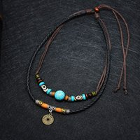 Necklace Men 2 Layers Vintage Fashion Retro Creative Coin Decor Layered Pendant Charm Wax Rope Faux Leather