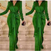 녹색 인어 댄스 파티 드레스 긴 Sheeve 플러스 사이즈 우아한 저녁 공식 가운 사용자 정의 드레스