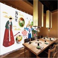 Custom Hand-Korean Theme Restaurant Landscape Wall Paper 3D Korean Style Bbq Background Industrial Decor Mural Wallpaper Wallpapers