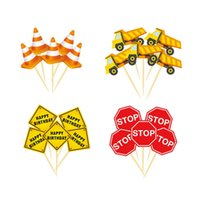 Construction Theme Cartoon Car Warning Sign Cake Topper Happy Birthday Cupcake Wrapper Kids Birthday Party Decoration Supplies
