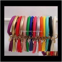 Rings Jewelrywomen Fashion Personalized Pu Leather Bracelet Key Ring Chain Sunflower Leopard Tassels Pendant Bangle Keychain Kimter-M497A Z D