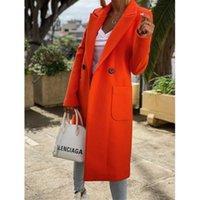 Womens Woolen 블렌드 코트 패션 트렌드 카디 건 버튼 옷깃 코트 디자이너 겨울 여성 사탕 색상 캐주얼 느슨한 중간 길이 겉옷