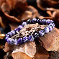 8mm Women's Natural Stone Purple Yoga Bracelets Bangles Handmade Elastic Beads Friendship Meditation Men AB371 Beaded, Strands