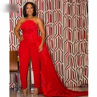 Red Jumpsuit prom Dresses with Overskirt Lace Appliques Sequined Beaded Outfit for Special Occasion Dress