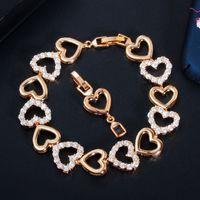Lien, chaîne romantique 585 or cubic zircon bracelet pour femme amour forme coeur forme branchée bracelet fille fille cadeaux bijoux cb204