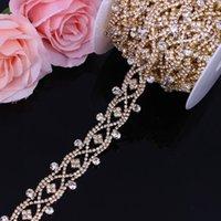 Hochzeit Schärpen 2,8 cm Breite Gold Kristall Kleid Gürtel Bridal Tasse Kette Trim Blume Form Strass Nähen auf Kleidung DIY Kleidung