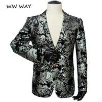 Men's Suits & Blazers Win Way Plus Size 5XL Casual Floral Printed Sport Coats Siliver Sequins Slim Fit Blazer Jacket Wedding Party Shower