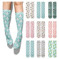 Creative Korean Style Cartoons Cute Panda Women's Casual Cotton Funny Girl Socks New Fashion Middle Tube Length Men